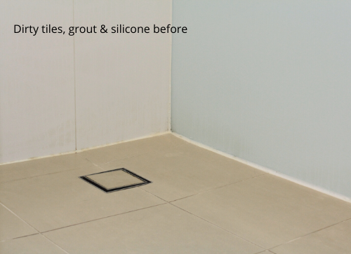 Dirty tiles, grout  silicone before