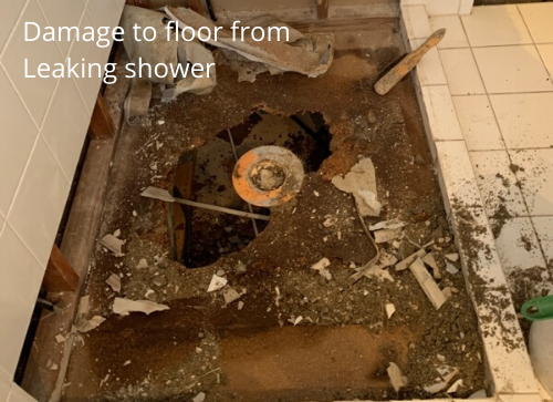 Damage to floor from Leaking shower
